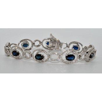 14K White Gold Diamond & Sapphire Bracel