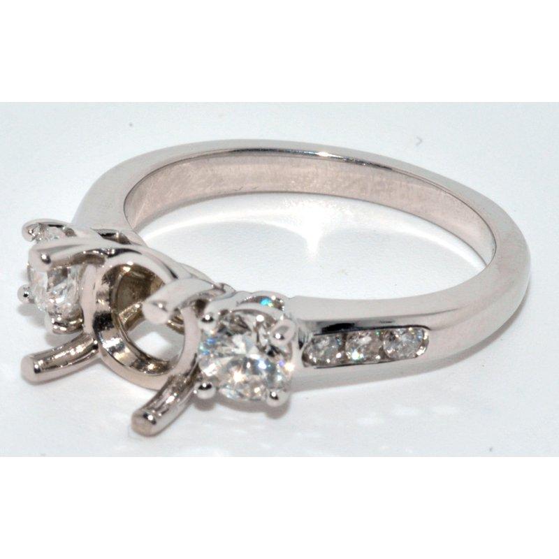 Windy City Signature 14K White Gold 3 Stone Engagement Ring