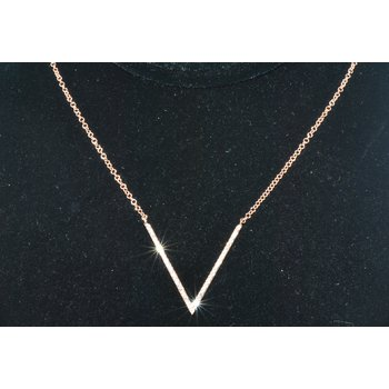 14K RG V Diamond Necklace