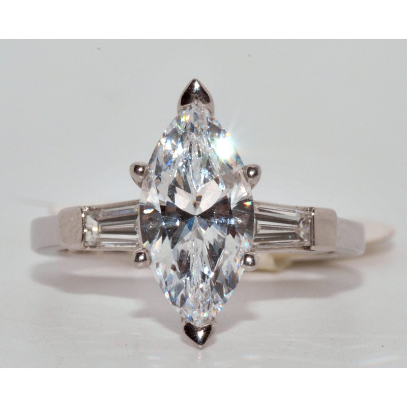 Windy City Signature Platinum Three Stone CZ Marquise and two