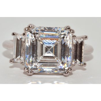Silver/CZ 3 Stone Ring