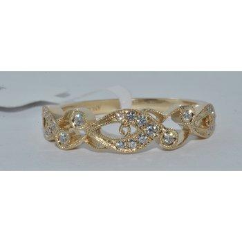 Lds 14K YG Vintage Inspired Ring Dia & M