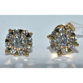 14k YG cluster diamond earrings