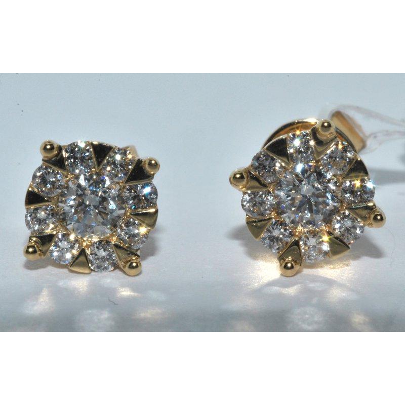 Windy City Signature 14k YG cluster diamond earrings