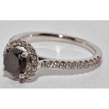 14K WG Black diamond halo