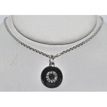 14K White Gold Pendant with letter O