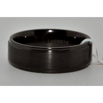 7mm wide flat Zirconium band w step down