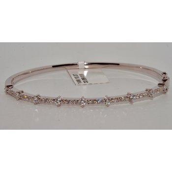 14k White Gold White Diamond Bangle