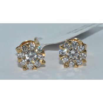 14K YG Diamond Cluster earring