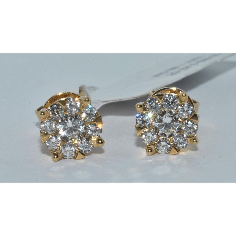 Windy City Signature 14K YG Diamond Cluster earring