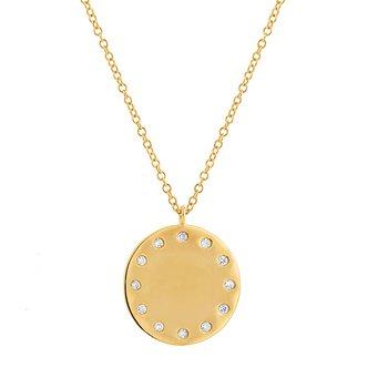 Engravable Diamond Disc Pendant
