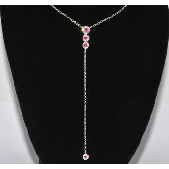 14K WG Dia & Ruby Lariat Necklace