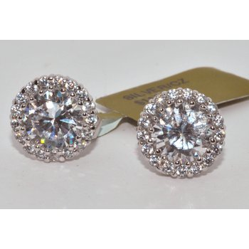 White Silver CZ Halo Earring