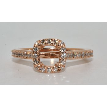 Erika 14K RG Diamond Halo Ring