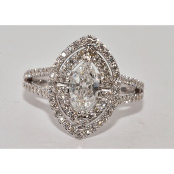 14K WG Diamond MQ Eng Ring