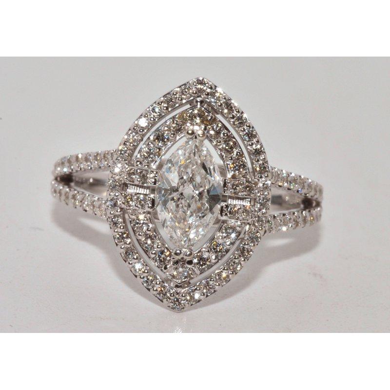 Windy City Signature 14K WG Diamond MQ Eng Ring