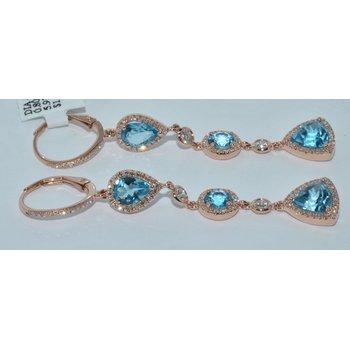 14K RG Blue Topaz & Dia Earring
