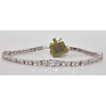 Silver Bracelet with White CZ's