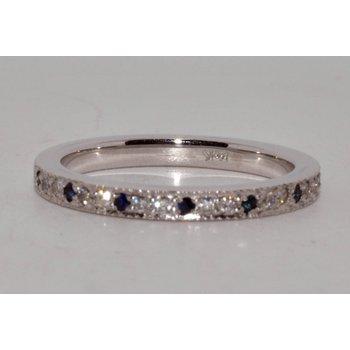Vintage sapphire diamond wedding band