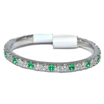 Elegant stackable diamond and emerald