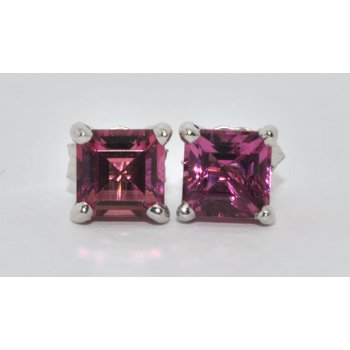 14K WG Pink Tourmaline Earrings