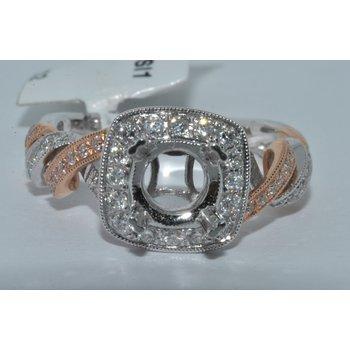 14K TT Diamond Halo pave Ring