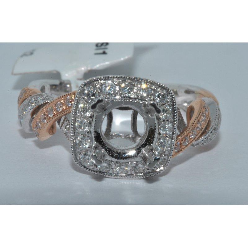 Windy City Signature 14K TT Diamond Halo pave Ring