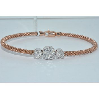 14K Rose Gold & White Gold Diamond Brace