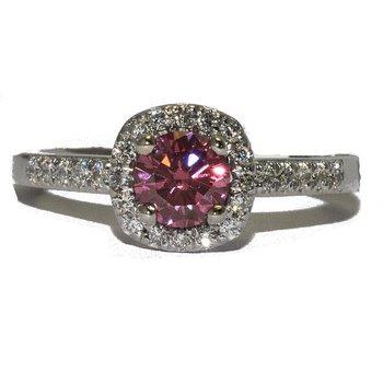 14K White Gold Pink Diamond Halo