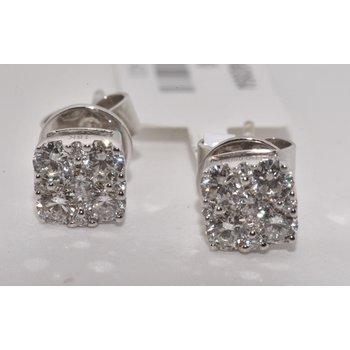 18K White Gold Diamond Square Cluster