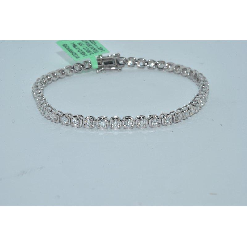 Windy City Signature 14K WG 3ct TW Diamond Tennis Bracelet