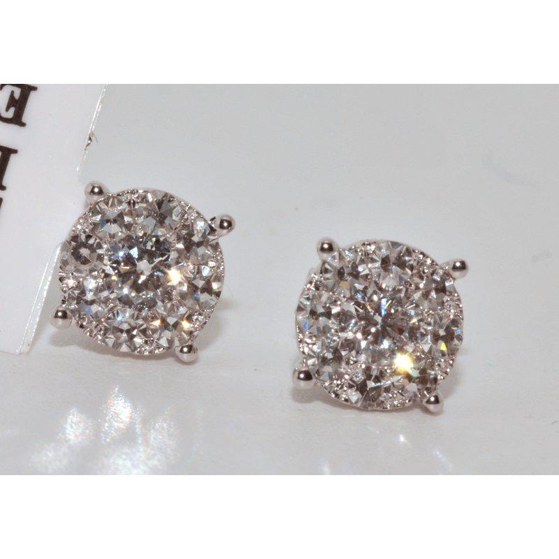 Windy City Signature 14K White Gold Round Diamond Cluster Ear