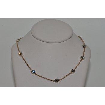 14K RG Diamond by the yard necklace