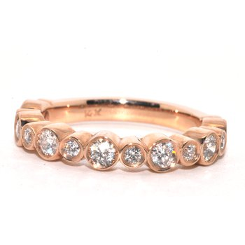 14K Rose Gold Bezel Set Wedding Band