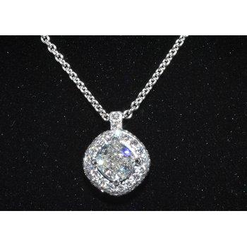 Cushion Halo Diamond Pendant