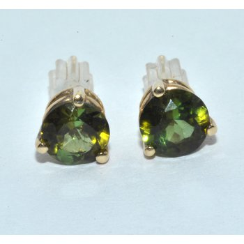14K YG Peridot Earrings Green Perdiot