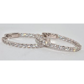 Silver Gold Plated Oval CZ Inside-Out