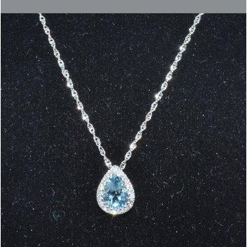 14K WG Aqua & Diamond PS Pendant