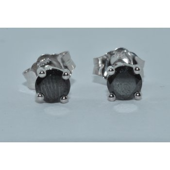 14K WG .38cts black diamond studs