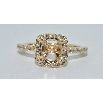14K YG Diamond Halo Ring