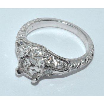 Platinum Vintage Style Hand Engraved