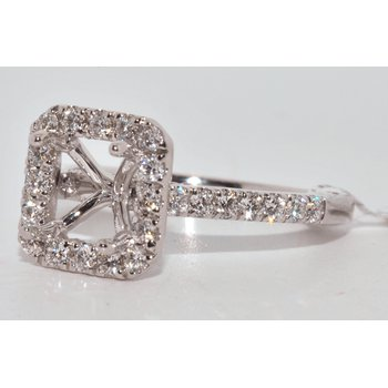 14K WG Diamond Halo Eng Ring