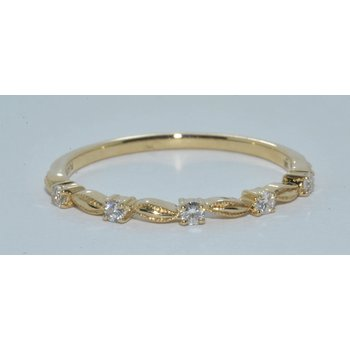 14K YG 5 Diamond Wedding Band