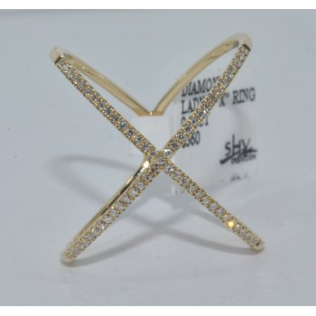 14K YG X Diamond Ladys Ring