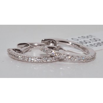 14K White Gold Hoop Diamond Earrings