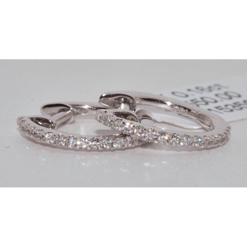Windy City Signature 14K White Gold Hoop Diamond Earrings