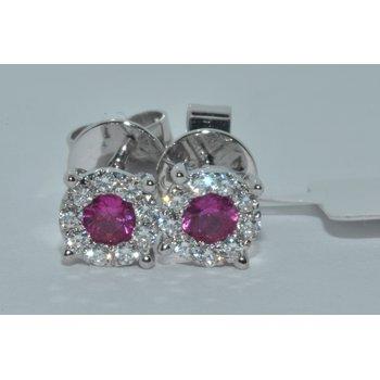 18K WG Diamond & Ruby Earring
