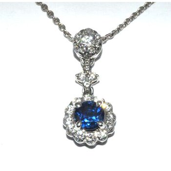 18K WG Saph & Diamond Pendant