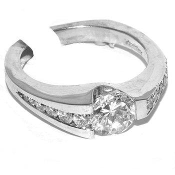 Fashion forward 14K wg engagement ring
