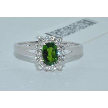 14K WG Chrome Diopside & dia halo ring